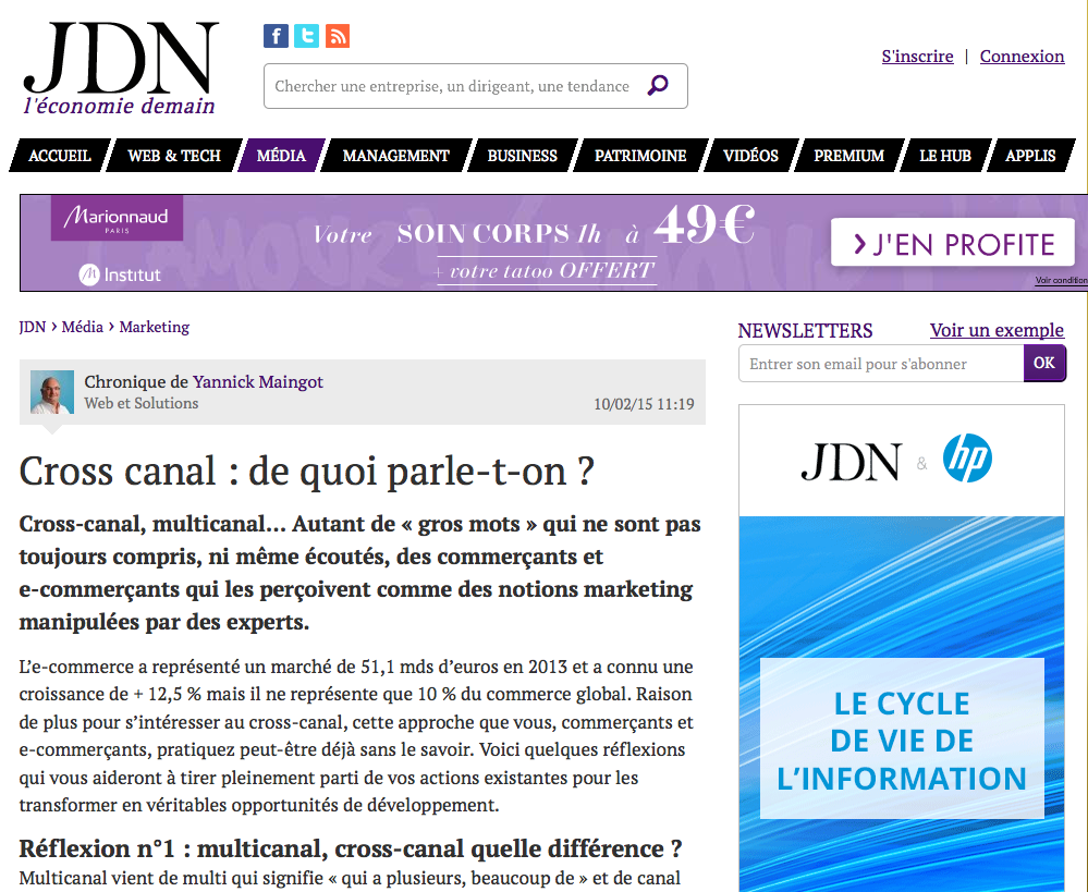 jdn tribune d'experts Web et Solutions cross canal