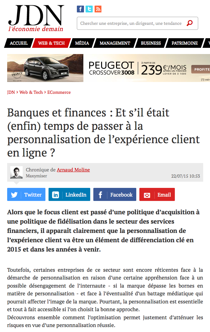 JDN tribune d'experts Maxymiser banques et finances